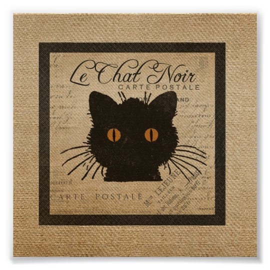 c8dba35b625 Burlap Le Chat Noir French The Black Cat Poster