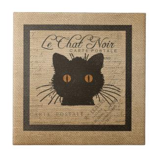 Burlap Le Chat Noir French The Black Cat Small Square Tile