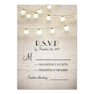 burlap lights rustic elegant wedding RSVP cards