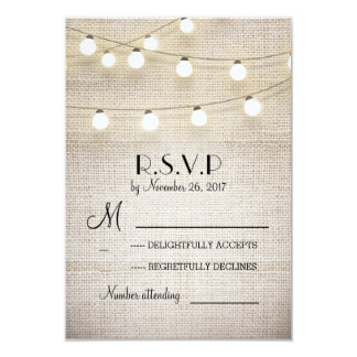 burlap lights rustic elegant wedding RSVP cards 9 Cm X 13 Cm Invitation Card