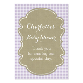 Burlap & Lilac Gingham Baby Shower Favour Tags Pack Of Chubby Business Cards
