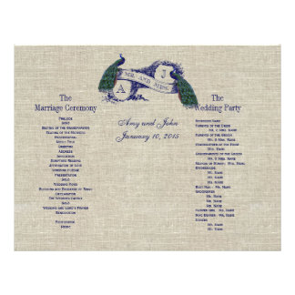 Burlap Linen Peacocks Rustic  Wedding Program Flyer