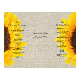 Burlap Linen Sunflower Country Wedding Program Custom Flyer