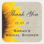 Burlap Linen Sunflower Thank You Bridal Shower Square Stickers