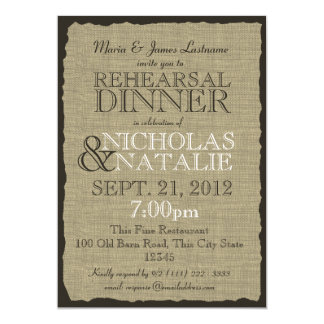 Burlap Look 5 x 7 Rehearsal Dinner 13 Cm X 18 Cm Invitation Card