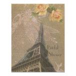 Burlap Look Eiffel Tower & Fairies Bridal Shower Personalized Invitations