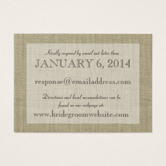 Burlap Look Insert card