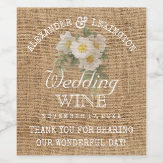 Burlap Look Vintage Flowers Rustic Country Wedding Wine Label