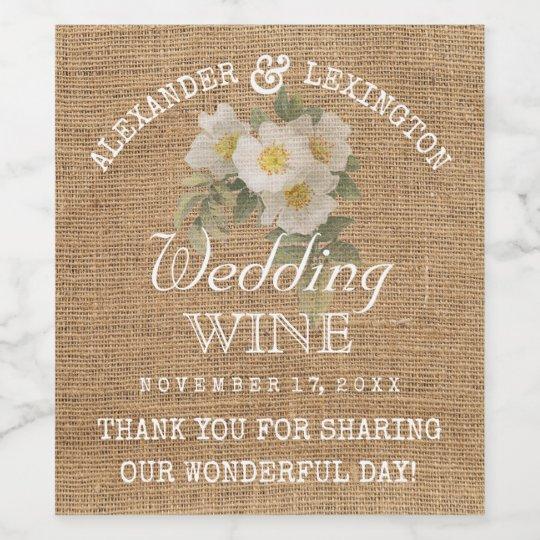 Burlap Look Vintage Flowers Rustic Country Wedding Wine