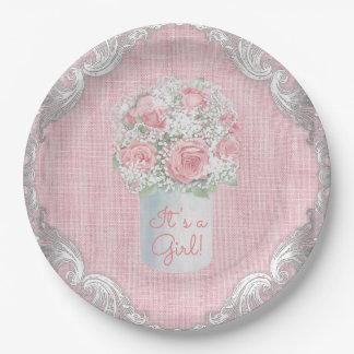 Burlap Mason Jar Baby Shower Paper Plates