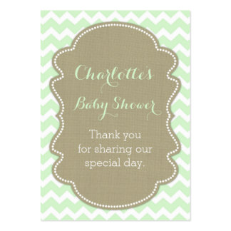 Burlap & Mint Chevrons Baby Shower Favour Tags Pack Of Chubby Business Cards