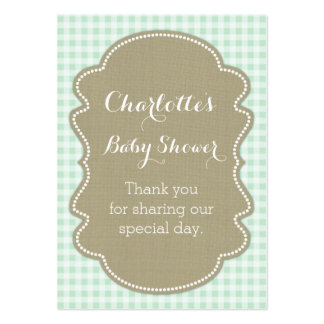 Burlap & Mint Gingham Baby Shower Favour Tags Pack Of Chubby Business Cards