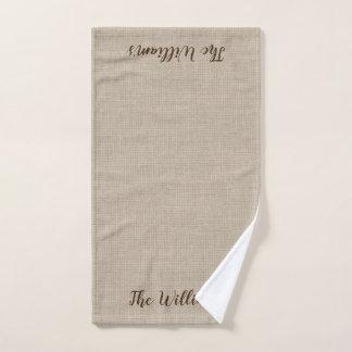 Burlap Monogrammed Hand Towel