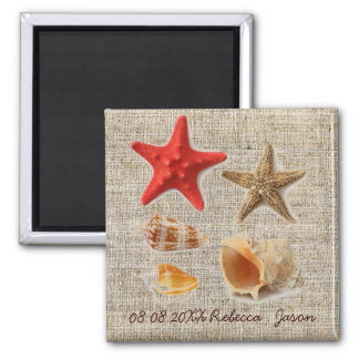 burlap  nautical seashells beach save the date magnets