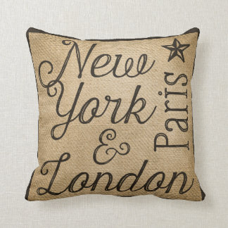 Burlap New York Paris London Cushion