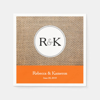 Burlap & Orange Monogrammed Wedding Disposable Napkin