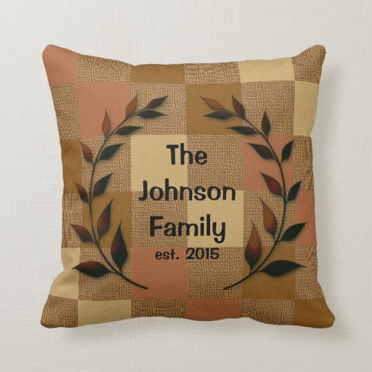 Burlap Pattern with Silhouette Family Name Cushion