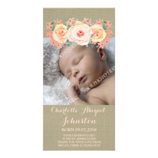 Burlap Peach Flowers Thank You Baby Shower Personalised Photo Card