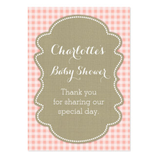 Burlap & Peach Gingham Baby Shower Favour Tags Pack Of Chubby Business Cards