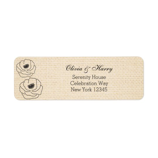 Burlap Peonies Wedding Return Address Labels