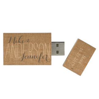 Burlap Personalized Wedding Names Date Gift Wood USB Flash Drive