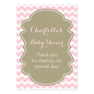 Burlap & Pink Chevrons Baby Shower Favour Tags Pack Of Chubby Business Cards
