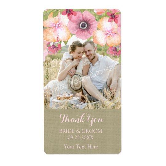 Burlap Pink Floral Photo Wedding Label