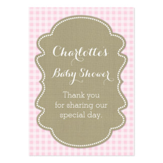Burlap & Pink Gingham Baby Shower Favour Tags Pack Of Chubby Business Cards