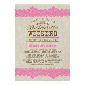 Burlap Pink Lace Bachelorette Weekend Invitation