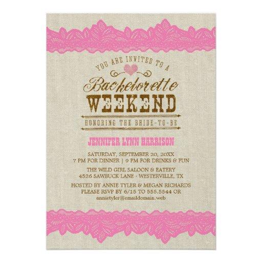 Burlap & Pink Lace Bachelorette Weekend Invitation