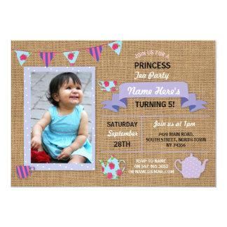Burlap Princess Tea Party Purple Birthday Invite