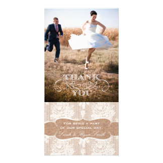 Burlap Print Lace Wedding Thank You Photo Cards