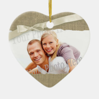 Burlap Print Photo frame with Bow Ceramic Heart Decoration