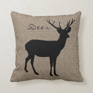 Burlap Print with Silhouette Deer Cushion