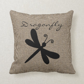 Burlap Print with Silhouette Dragonfly Cushion