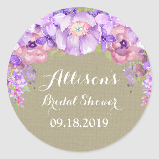 Burlap Purple Floral Bridal Shower Favor Tag Round Sticker