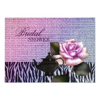 "burlap purple rose Bridal Tea Party Invitation 4.5"" X 6.25"" Invitation Card"