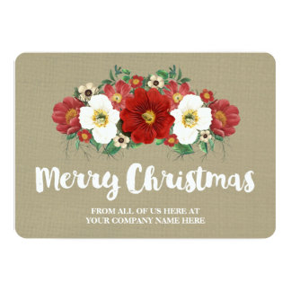 Burlap Red Floral Christmas Cards Business