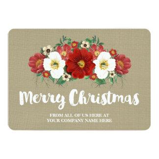 Burlap Red Floral Christmas Cards Business 13 Cm X 18 Cm Invitation Card