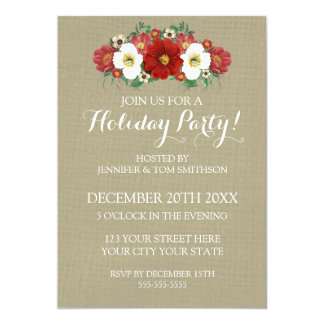 Burlap Red Flowers Christmas Party Invitation