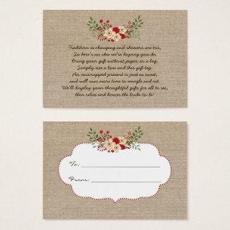 Burlap red No wrap display bridal shower gift tag