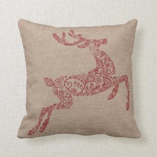 Burlap Red Reindeer Cushion