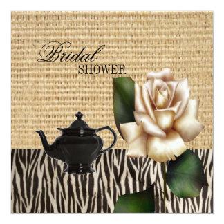 "burlap rose Bridal Shower Tea Party Invitation 5.25"" Square Invitation Card"