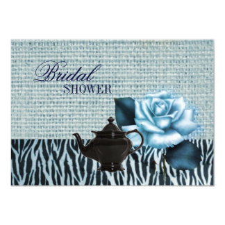"burlap rose Bridal Shower Tea Party Invitation 4.5"" X 6.25"" Invitation Card"