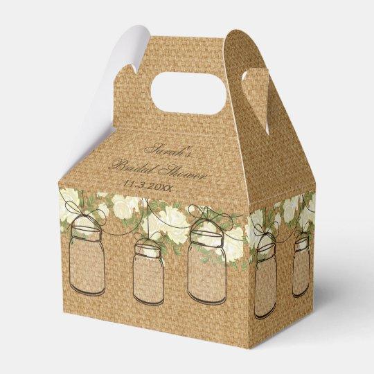 burlap roses mason jar bridal shower favour box