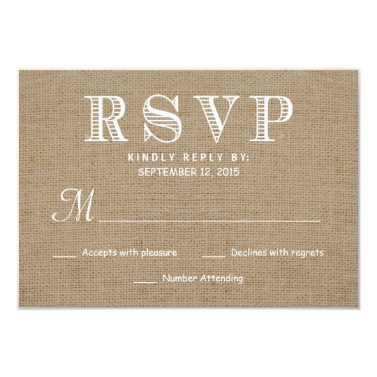 Burlap RSVP Rustic Typography Wedding Reply Card