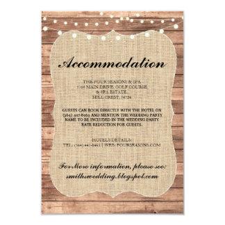 Burlap Rustic Accommodation Wood Wedding Cards