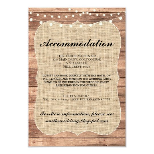 Burlap Rustic Accommodation Wood Wedding Cards
