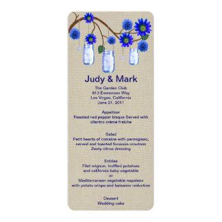 Burlap Rustic Blue Mason Jars Menu Card 10 Cm X 24 Cm Invitation Card