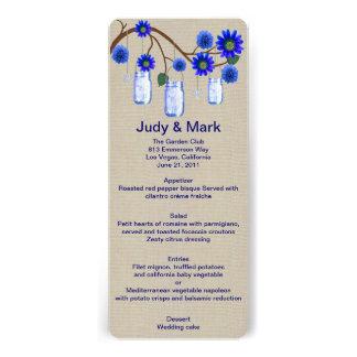 Burlap Rustic Blue Mason Jars Menu Card